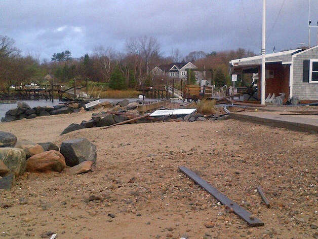 The Darien Boat Club was extensively damaged by Hurricane Sandy. Photo: Contributed