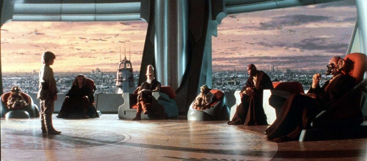 """""""Star Wars Episode I: The Phantom Menace"""": Members of the Jedi Council interview young Anakin Skywalker in their temple far above the urban-sprawl planet of Coruscant."""