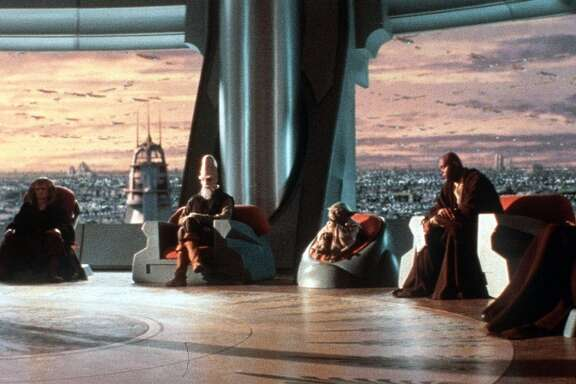 "Members of the Jedi Council interview young Anakin Skywalker in their temple far above the urban-sprawl planet of Coruscant in ""Star Wars: Episode I--The Phantom Menace."""