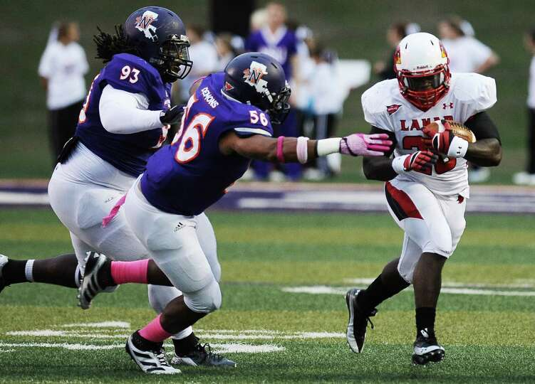 Lamar running back Herschel Sims charges down the field for another first down during Northwestern S