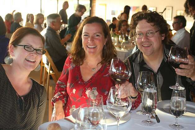 Composers Lisa Mezzacappa (left), with Sarah Wilson and John Schott at the Artful Harvest. Photo: Laura Amador, Special To The Chronicle