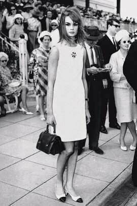October 30, 1965: The mini dress, designed by Mary Quant, makes its chic debut on British fashion model Jean Shrimpton at Derby Day at Flemington Racecourse in Melbourne, instantly changing the way women dress.