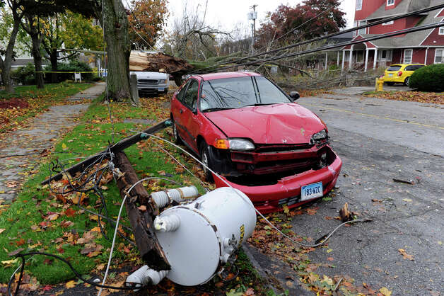 A transformer and large tree fell down on Farview Avenue in Danbury, Conn. Tuesday, Oct. 30, 2012, during Hurricane Sandy, Tuesday, Oct. 30, 2012. Photo: Carol Kaliff
