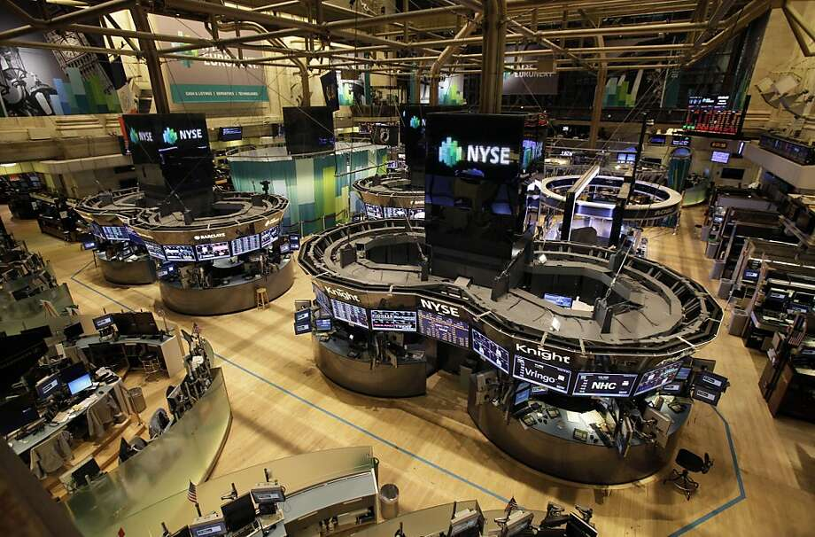 The floor of the New York Stock Exchange stands empty as this week's superstorm shuttered U.S. markets Monday and Tuesday, the first back-to-back closure for weather since 1888. Photo: Richard Drew, Associated Press