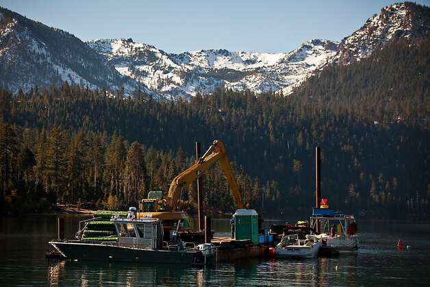 The barge work station in Emerald Bay where divers are placing mats on the lake floor to control Asian clams, an invasive species to Lake Tahoe at Camp Richardson, Calif., October 30, 2012. Photo: Max Whittaker/Prime, Special To The Chronicle