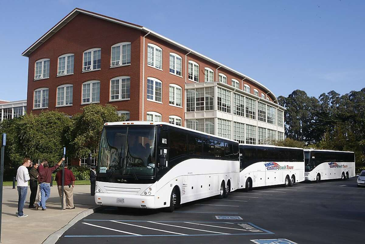 Employees leaving Lucasfilm in the Presidio in San Francisco, Calif., on buses heading to a meeting in the East Bay on Tuesday, October 30, 2012.