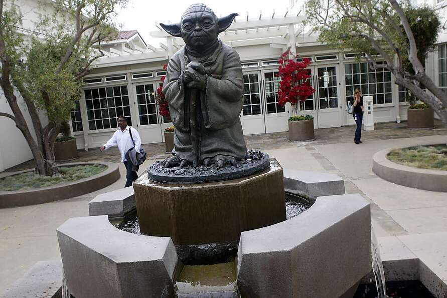 A statue of Yoda in the courtyard of Lucas films Light & Magic in the Presidio in San Francis