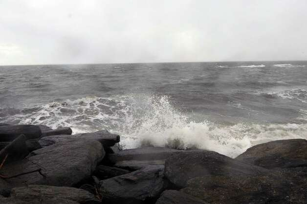 Waves crash on the rocks in Shippan on Tuesday, October 30, 2012. Photo: Lindsay Niegelberg
