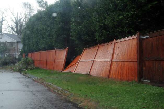 A damaged fence in Shippan the day after Hurricane Sandy on Tuesday, October 30, 2012. Photo: Lindsay Niegelberg