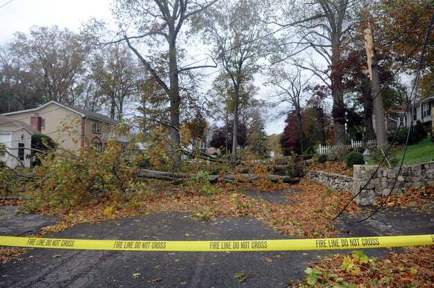 Trees and wires are down on Derwen Street in Stamford after Hurricane Sandy on Tuesday, October 30, 2012. Photo: Lindsay Niegelberg