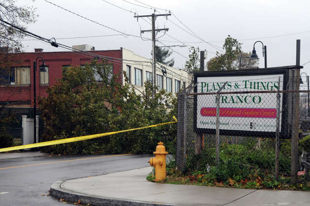 Wires and debris cause street closures after Hurricane Sandy related weather passed through Stamford, Conn., Oct. 30, 2012. Photo: Keelin Daly