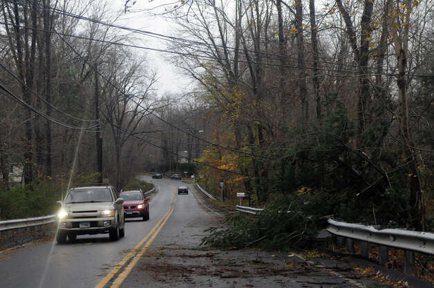 Down lines and branches cause detours along High Ridge Road after Hurricane Sandy related weather in Stamford, Conn., Oct. 30, 2012. Photo: Keelin Daly