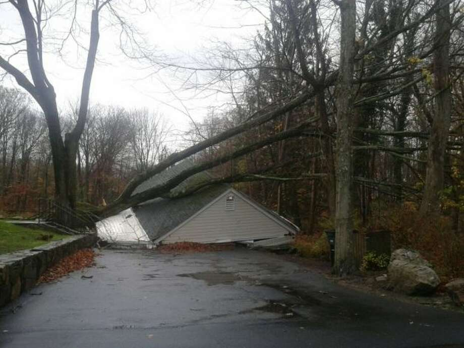 A garage on Hunting Ridge Road in Stamford was flattened by Sandy.