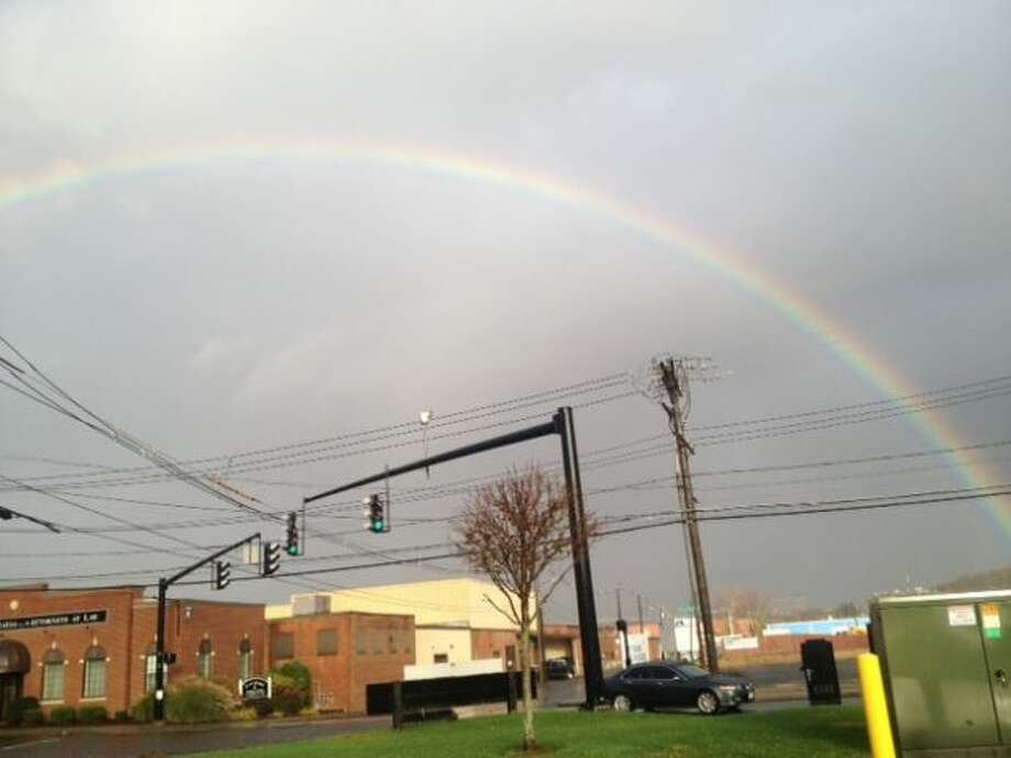 A rainbow appears over Danbury on Tuesday, October 30, 2012. (Danny Espinal)