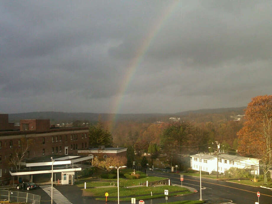 Rainbow of Hope over Danbury Hospital on Tuesday morning Oct. 30th