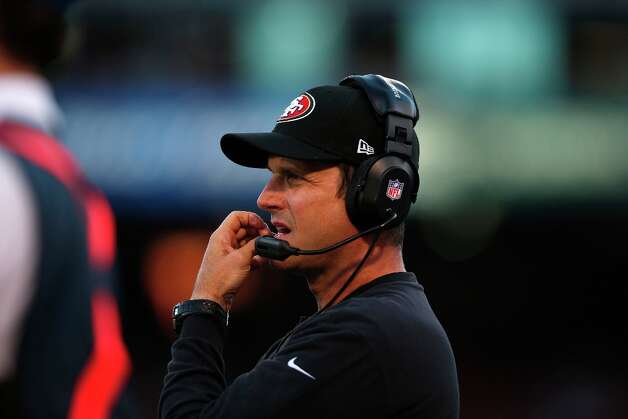 49ers coach Jim Harbaugh during the San Francisco 49ers game against the Seattle Seahawks at Candlestick Park in San Francisco, Calif., on Thursday October 18, 2012. Photo: Stephen Lam, Special To The Chronicle / ONLINE_YES