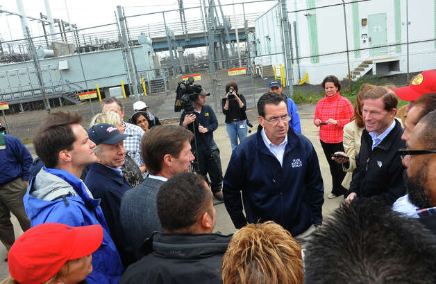 Governor Dannel P. Malloy takes a tour of United Illuminating's Congress Street substation in the aftermath of Hurricane Sandy in Bridgeport, Conn. on Tuesday October 30, 2012. Photo: Christian Abraham