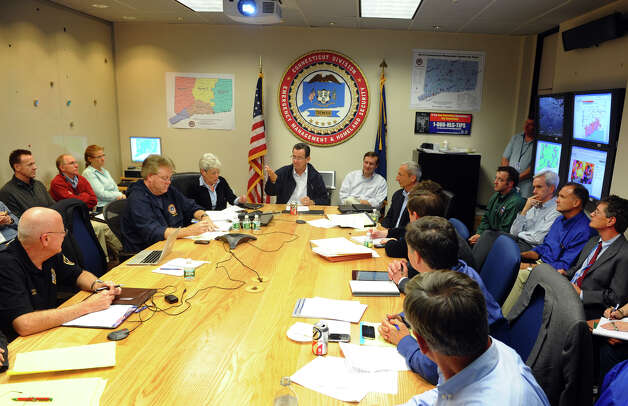 Governor Dannel P. Malloy holds a meeting with staff in the State Emergency Operations Center at the William A. O'Neill Armory in Hartford, Conn. on Tuesday October 30, 2012. Photo: Christian Abraham