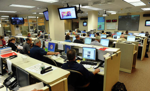 A view of personel monitoring activity in the State Emergency Operations Center at the William A. O'Neill Armory in Hartford, Conn. on Tuesday October 30, 2012. Photo: Christian Abraham