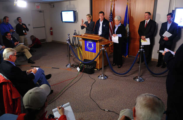 Governor Dannel P. Malloy holds a press conference for an update on the aftermat of Hurricane Sandy in the State Emergency Operations Center at the William A. O'Neill Armory in Hartford, Conn. on Tuesday October 30, 2012. Photo: Christian Abraham