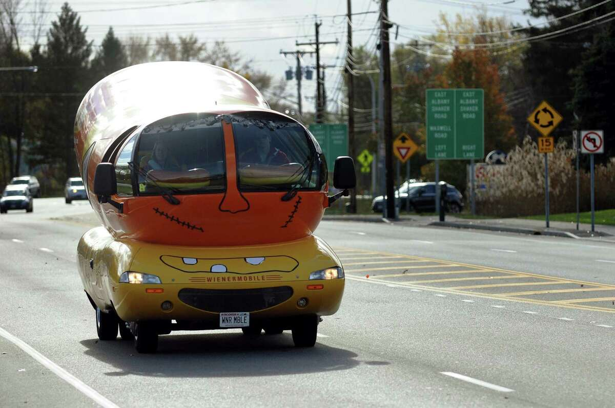 The Wienermobile travels down Albany-Shaker Road on Tuesday, Oct. 30, 2012, in Colonie, N.Y. (Cindy Schultz / Times Union)