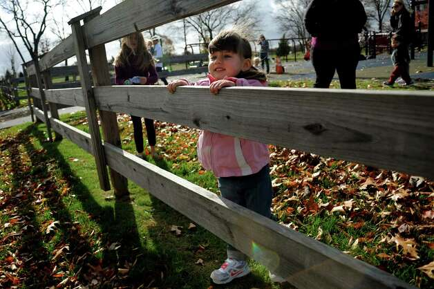 Mara Erdman, 2, of Niskayuna lights up when she sees the Wienermobile on Tuesday, Oct. 30, 2012, at The Crossings in Colonie, N.Y. (Cindy Schultz / Times Union) Photo: Cindy Schultz /  00019871A