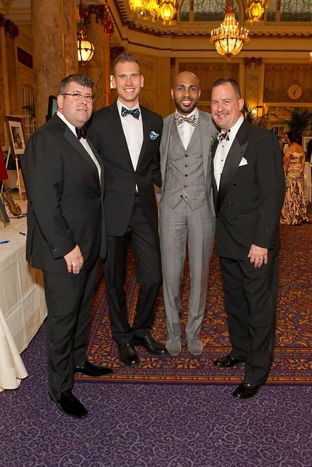 San Francisco Nordstrom store manager Alan Morrell with Lance Burbank, Clayton Fields and Mike Genoshe at the MOAD gala. Photo: Drew Altizer Photography, Drew Altizer
