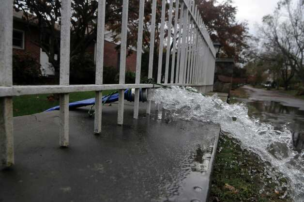 An unusually high tide along with Hurricane Sandy related weather caused unprecedented flooding to the homes and neighborhood of Davenport Drive in the West side of Stamford, Conn., Oct. 30, 2012. Photo: Keelin Daly / Stamford Advocate Freelance