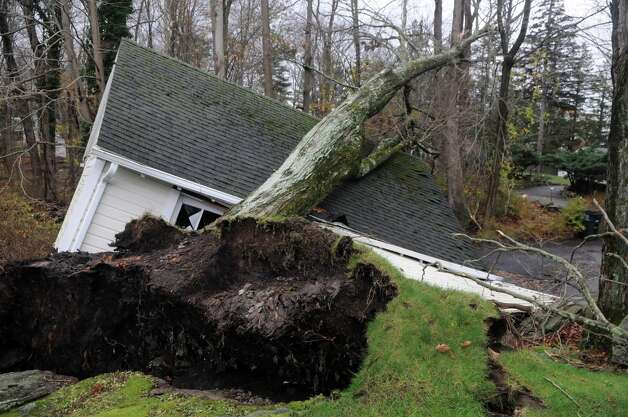 A tree crushed a building on Hunting Ridge Road during Hurricane Sandy related weather in North Stamford, Conn., Oct. 30, 2012. Photo: Keelin Daly / Stamford Advocate Freelance