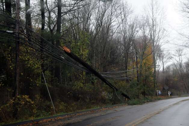 Wires and debris cover the roads after Hurricane Sandy related weather passed through Stamford, Conn., Oct. 30, 2012. Photo: Keelin Daly / Stamford Advocate Freelance