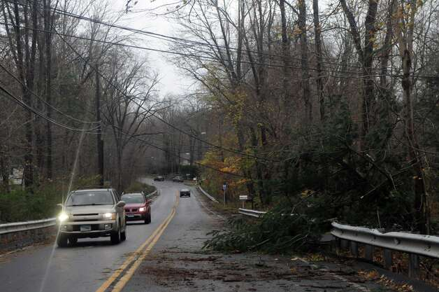 Down lines and branches cause detours along High Ridge Road after Hurricane Sandy related weather in Stamford, Conn., Oct. 30, 2012. Photo: Keelin Daly / Stamford Advocate Freelance