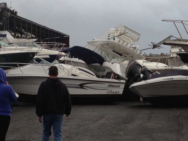 Boats piled up at Rex Marine on Water Street in South Norwalk Tuesday following Hurricane Sandy. Photo: Rick Reardon