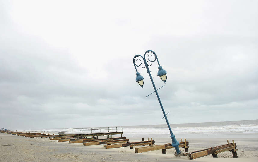 What remains of the boardwalk sits on the beach on October 30, 2012 in Belmar, New Jersey. Most of t