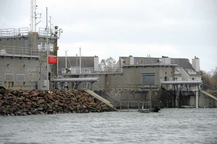 The hurricane barrier remains raised in Stamford on Tuesday, October 30, 2012. Photo: Lindsay Niegelberg