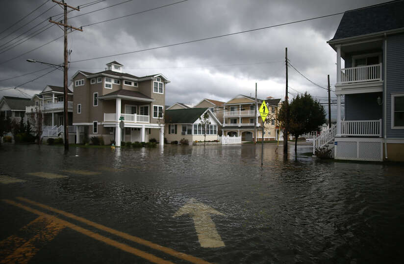 Streets remain flooded after Hurricane Sandy on October 30, 2012 in Ocean City, New Jersey. Sandy ma