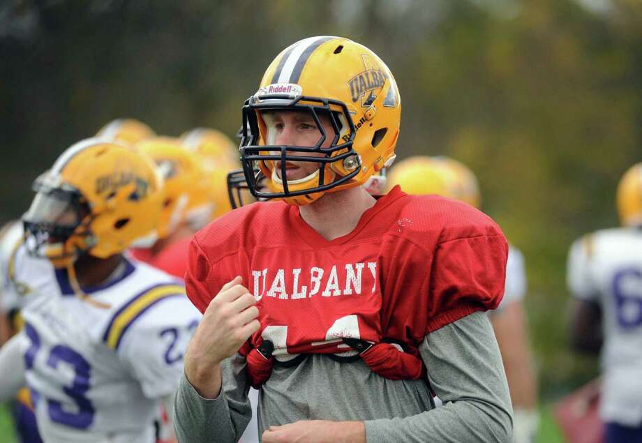 UAlbany QB Will Fiacchi during practice in Albany, NY Tuesday Oct. 30, 2012. (Michael P. Farrell/Times Union) Photo: Michael P. Farrell