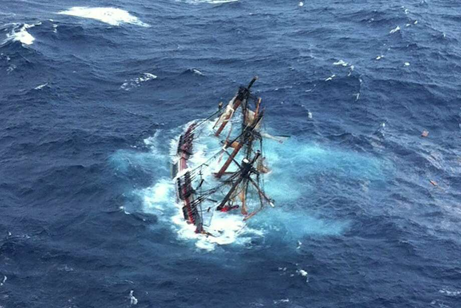 In this image supplied by the U.S. Coast Guard, The HMS Bounty is swamped in the Atlantic Ocean during Hurricane Sandy. Photo: Handout / Getty Images North America
