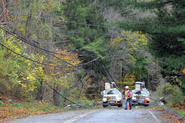 Wires and debris cover the roads after Hurricane Sandy related weather passed through Stamford, Conn., Oct. 30, 2012. Photo: Keelin Daly