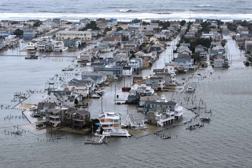 A Portion of Harvey Cedars on Long Beach Island, New Jersey is underwater Tuesday, Oct. 30, 2012, a