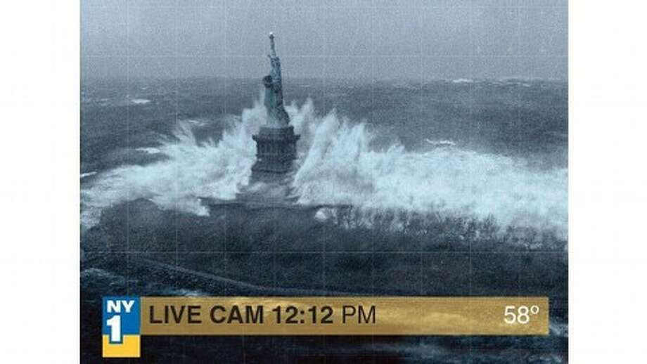 "This photoshopped Hurricane Sandy photos, like this one repurposed from the movie ""The Day After Tomorrow,"" populated the web."