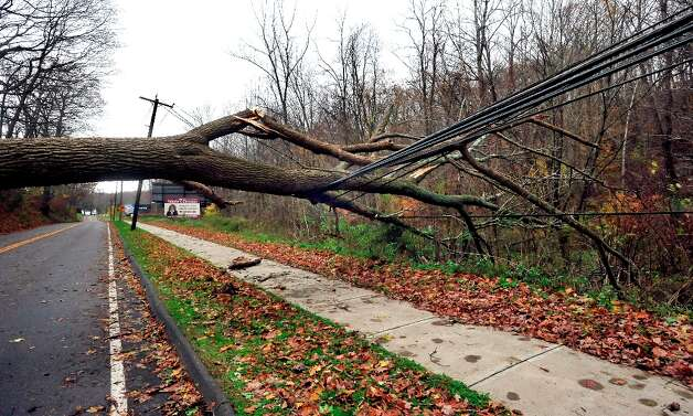 A tree rests on power lines on Route 37 in Danbury, Conn. after Hurricane Sandy Tuesday, Oct. 30, 2012. Photo: Michael Duffy / The News-Times