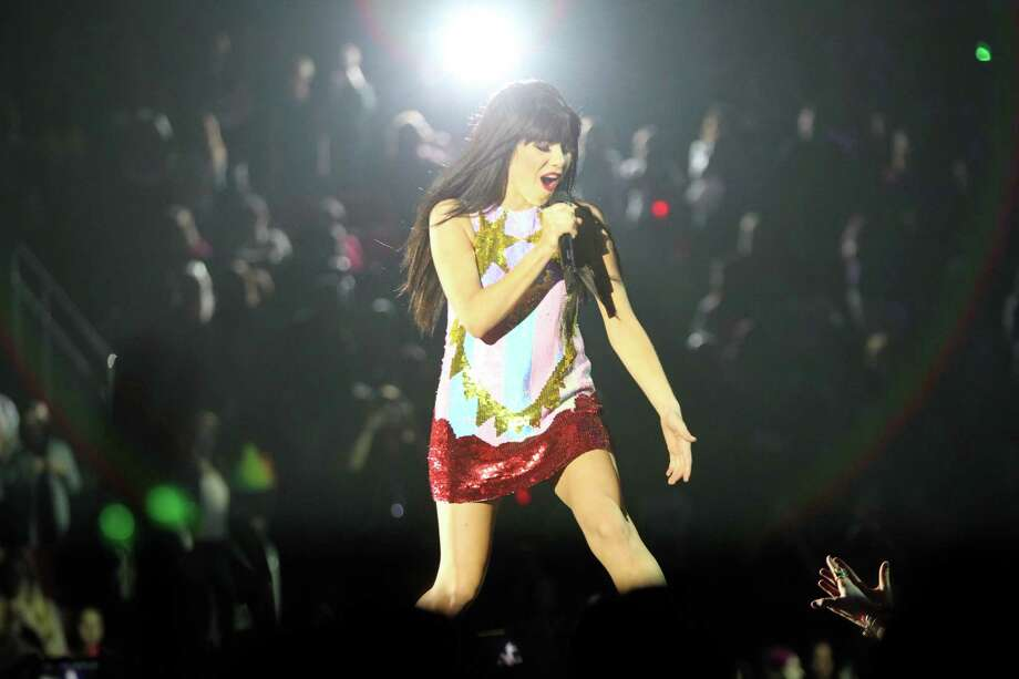 Carly Rae Jepsen sings the opening songs of her show, Tuesday, Oct. 30, 2012, in the Toyota Center in Houston. Photo: Nick De La Torre, Houston Chronicle / © 2012  Houston Chronicle