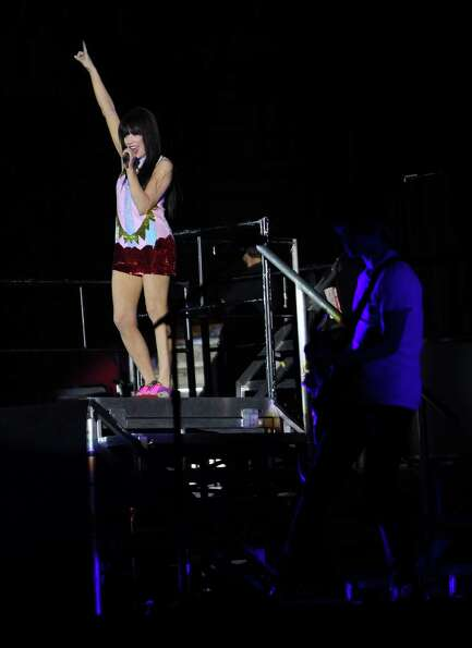 Carly Rae Jepsen sings the opening songs of her show, Tuesday, Oct. 30, 2012, in the Toyota Center i
