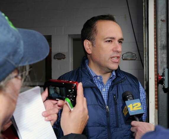 Greenwich First Selectman Peter Tesei speaks with the media at the Sound Beach Fire House in Old Greenwich, Tuesday morning, Oct. 30, 2012, the day after Hurricane Sandy hit Greenwich. Photo: Bob Luckey / Greenwich Time