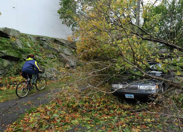 Tree limbs rest on the car of Tom Wiliams on Mead  Avenue during the aftermath of Hurricane Sandy in Byram, Tuesday morning, Oct. 30, 2012. Photo: Bob Luckey / Greenwich Time