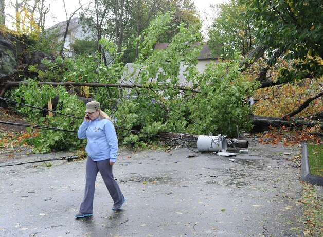 Storm damage on Peck Avenue during the aftermath of Hurricane Sandy in Byram, Tuesday morning, Oct. 30, 2012. Photo: Bob Luckey / Greenwich Time