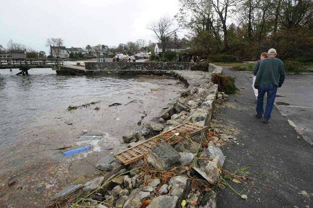 The damaged seawall in Byram Park during the aftermath of Hurricane Sandy in Byram, Tuesday morning, Oct. 30, 2012. Photo: Bob Luckey / Greenwich Time