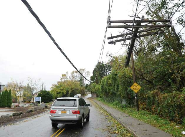 during the aftermath of Hurricane Sandy in Byram, Tuesday morning, Oct. 30, 2012. Photo: Bob Luckey / Greenwich Time