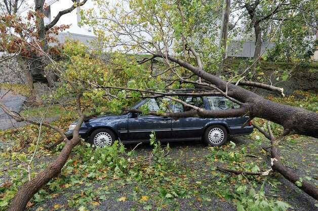 Tom Williams tree-damaged car on Mead Avenue in Byram during the aftermath of Hurricane Sandy in Byram, Tuesday morning, Oct. 30, 2012. Photo: Bob Luckey / Greenwich Time