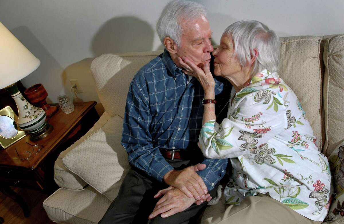 Dolly and Len Dooren, both 92, pucker up for a kiss in their apartment on Thursday, July 23, 2009, at Hawthorne Ridge Nursing Home in East Greenbush, N.Y. The couple, married nearly 70 years, were reunited with a long-lost love letter from E-Bay buyer Lorraine Alweiss of Staten Island. (Cindy Schultz / Times Union)